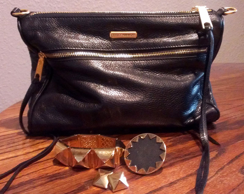 Purse by Rebecca Minkoff, Gold Pyramid Stud Earrings and Bracelet by CC Skye, Black and Gold Sunburst Cocktail Ring by House of Harlow